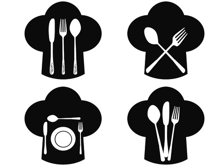 isolated Chef hat with fork, knife and spoon icons from white background