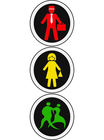 isolated people traffic light design on white background
