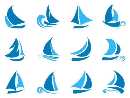 isolated blue abstract sailboat icon from white background