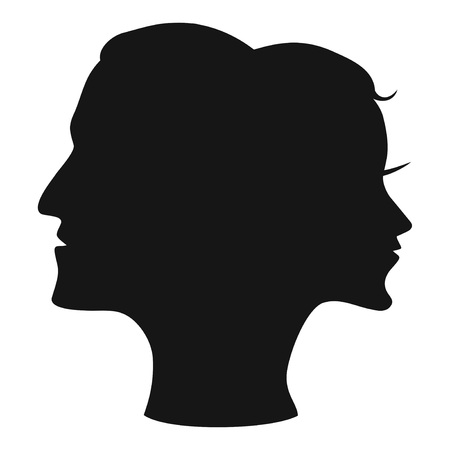 isolated man woman head combine vector from white background