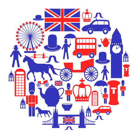isolated british icons set in circle from white background Stock Illustratie