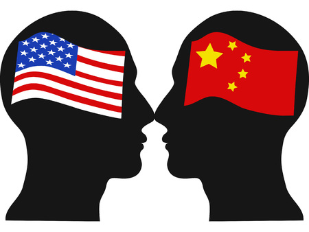 isolated American versus Chinese economic war from white background