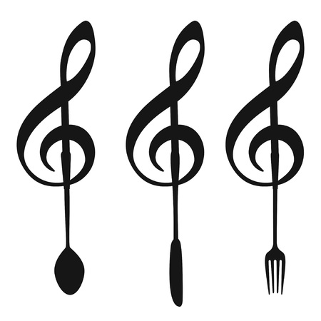isolated music note with fork knife spoon symbol from white background