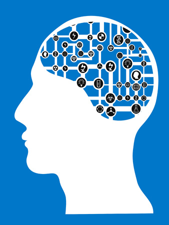 isolated human head with connected network brain on blue background Illustration