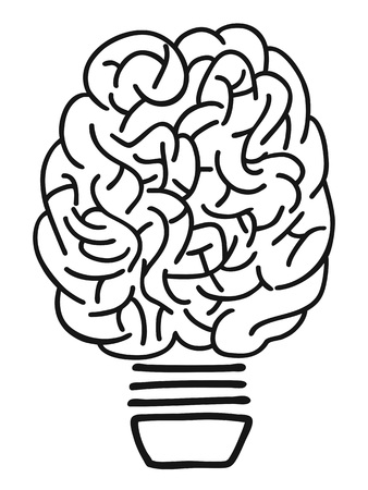 isolated doodle hand drawn brain lightbulb outline on white background 向量圖像