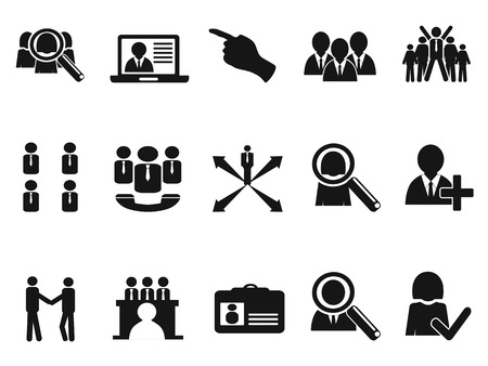 isolated black Job Icons set from white background