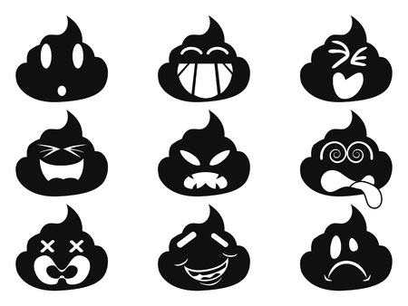 isolated funny smiley shit face icons from white background