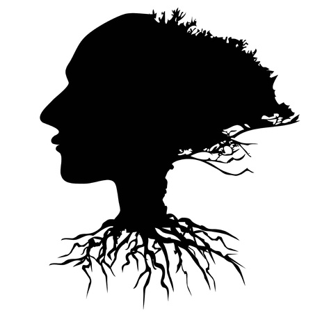 isolated black human head tree vector from white background
