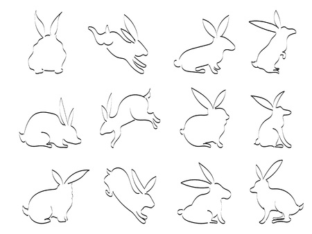 isolated doodle black rabbit outline icons on white background