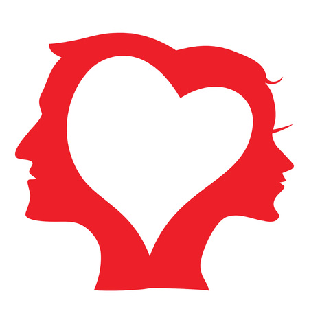 isolated Man and Woman head Silhouette in love heart from white background Stock Illustratie