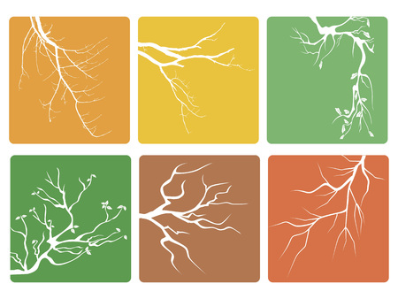 isolated tree branch buttons icons vector from white background