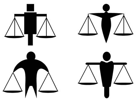 isolated abstract man holding scales justice icon logo from white background