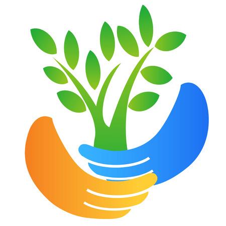 isolated hand holding tree logo on white background