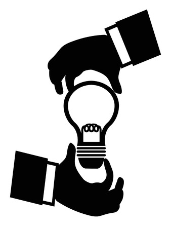 isolated businessman hand holding idea light bulb on white background 向量圖像