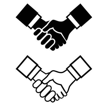 isolated black handshake icon from white background 向量圖像