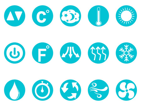 isolated air conditioner round button icons set from white background