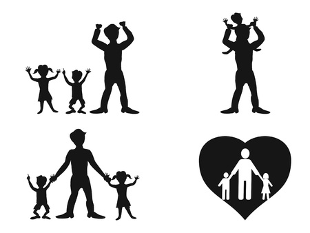 isolated father with kids silhouette vector from white background