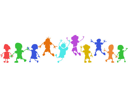 isolated colorful doodle happy kids in a row on white background