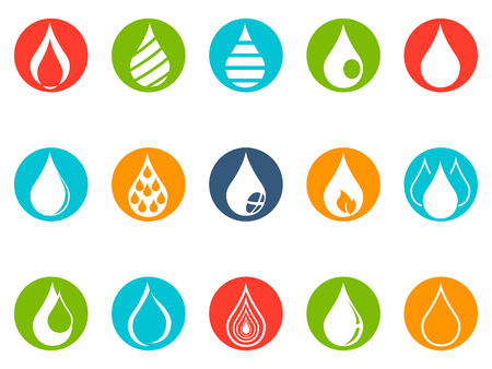 isolated drop round button icons set from white background Stock Illustratie