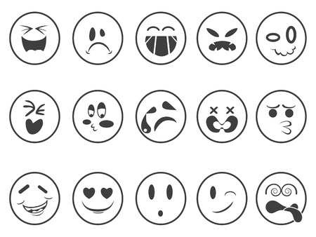 isolated smiley Emoji faces outline icons on white background