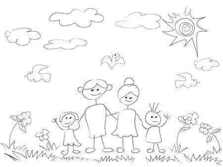 isolated doodle happy family background on white background