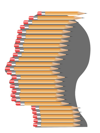 isolated pencils arranging on people head background