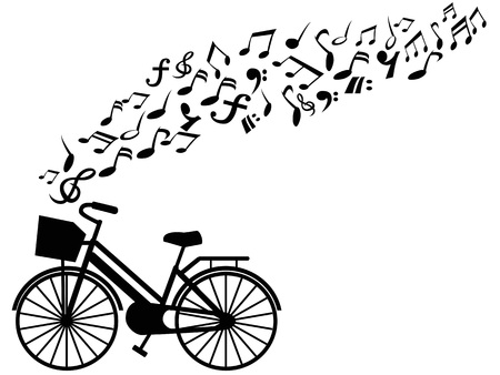 isolated bicycle with music notes flying on white background vector 向量圖像