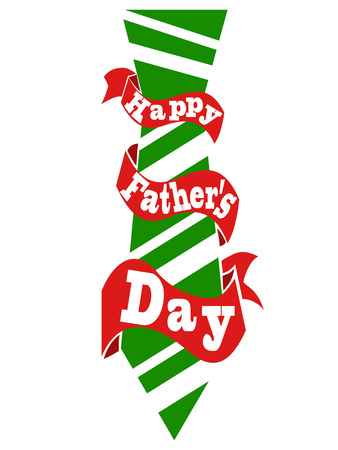 isolated happy father's day tie with ribbon card from white background
