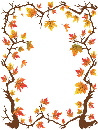 the beautiful maple leaves frame with copy space in center 向量圖像