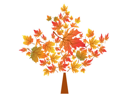 isolated autumn maple leaves symbol from white background Stock Illustratie