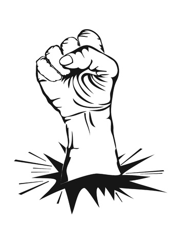 isolated fist punching wall on white background