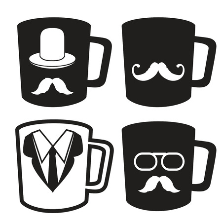 isolated father's day mug icons from white background