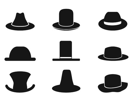 isolated black gentleman hat icons from white background