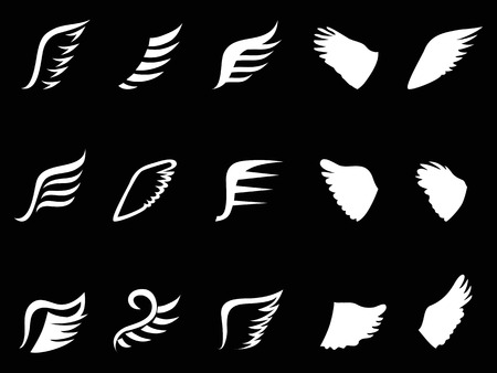 isolated white wing icons from black background Stock Illustratie