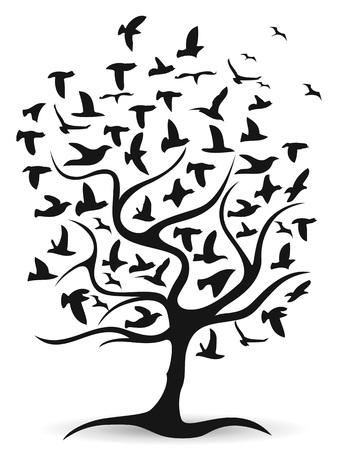 vecteur de fond arbre isolé oiseaux noirs de fond blanc