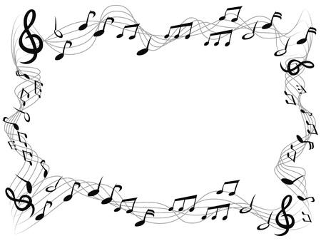cornice quadrata di note musicali isolate con spazio di copia da sfondo bianco