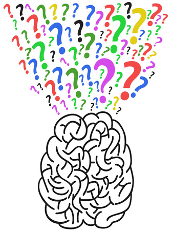 isolated the brain with question mark from white background