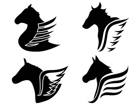 isolated horse head wings icon symbol from white background