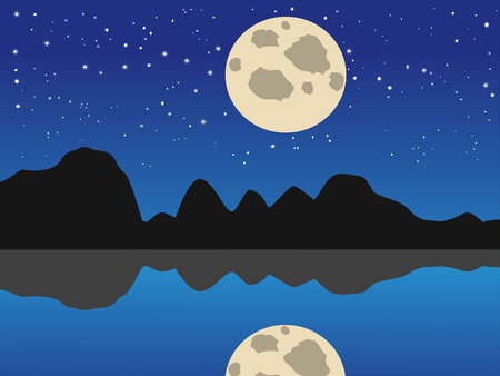 the beautiful natural background of blue moon night lake Stock Illustratie