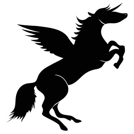 isolated Unicorn horse wings silhouette vector from white background