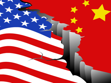 the background of USA and China economic war 向量圖像