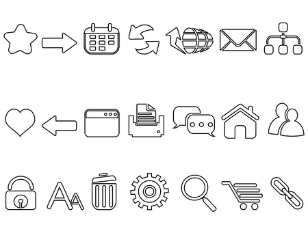 isolated linear flat web mobile interface app outline icons set from white background 向量圖像