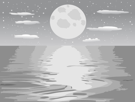 the monochrome background of moon night sea 向量圖像