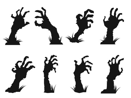 isolated zombie hands icon set from white background