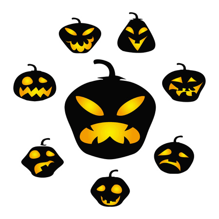 isolated Halloween dark pumpkin face vector from white background