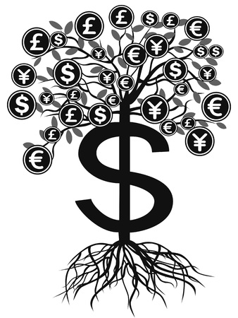 isolated black money currency tree from white background 向量圖像