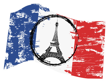 the background of grungy french flag with paris tower symbol