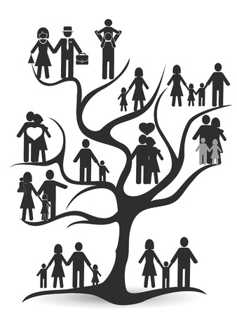 isolated black family tree from white background Stock Illustratie