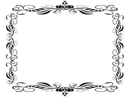 isolated black classic decor frame on white background Stock Illustratie