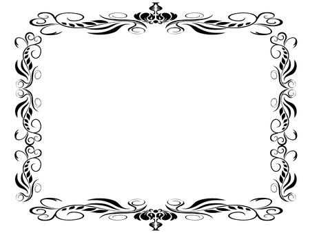 isolated black classic decor frame on white background 向量圖像